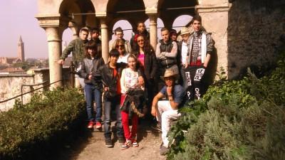 Photo de groupe au Jardin Giusti avec Catherine Nicoli